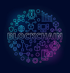Blockchain technology colorful outline round vector