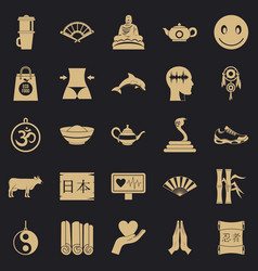 Buddhism icons set simple style vector