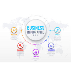 business infographics with processes round icons vector image