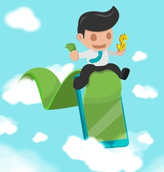 Business Man Green Road success Cloud vector image