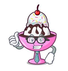Businessman ice cream sundae character cartoon vector