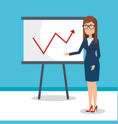Businesswoman training with paperboard vector