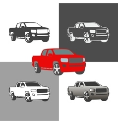 car pickup truck vehicle silhouette icons colored vector image