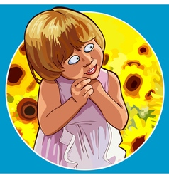 cartoon funny little girl shy standing in vector image