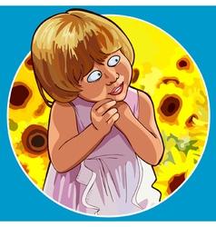 Cartoon funny little girl shy standing in vector