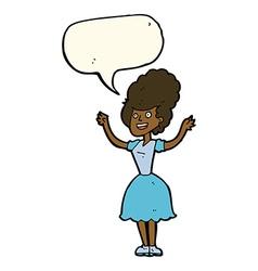 Cartoon happy 1950s woman with speech bubble vector