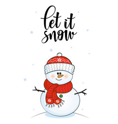 christmas cards with snowman and winter lettering vector image
