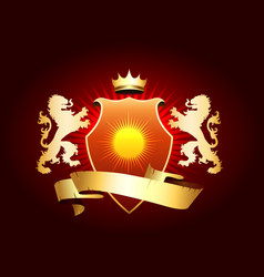 Coat arms with golden lions vector