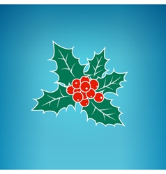 Colorful Christmas Holly Berry on a Blue Backgroun vector image