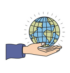 colorful silhouette hand palm giving a earth globe vector image