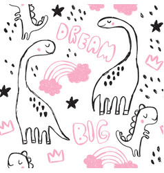 Cute brontosaurus and doodles seamless pattern vector