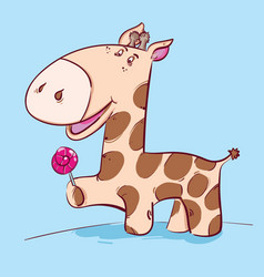 cute cartoon giraffe on a blue background vector image