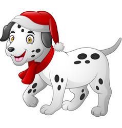 dalmatian cartoon dog wearing a red santa hat and vector image