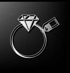 diamond sign with tag gray 3d printed vector image