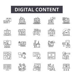 digital content line icons signs set vector image