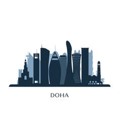 doha skyline monochrome silhouette vector image