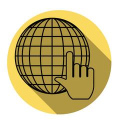 Earth globe with cursor flat black icon vector