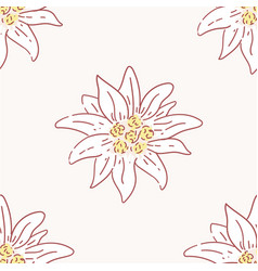Edelweiss flower seamless pattern tile symbol vector