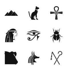 Egyptian pyramids icons set simple style vector