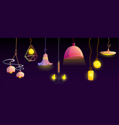 electric ceiling lamps and hanging light bulbs vector image
