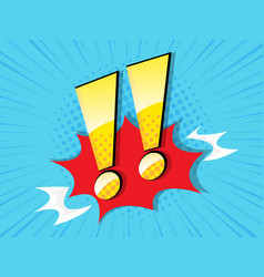 exclamation sign with comic book pop art vector image