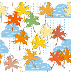 fall seamless pattern clouds rain and maple leaf vector image