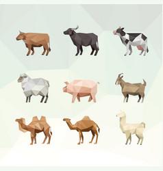 Farm animal with polygonal geometric style set vector