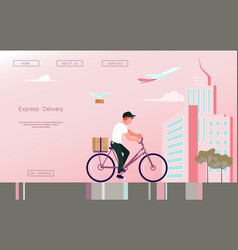 Fast delivery bicycle vector