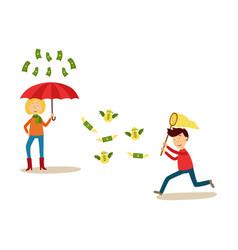 flat people catching money scenes set vector image
