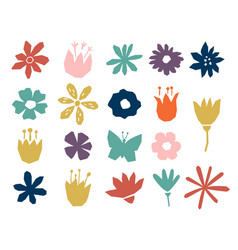 floral paper cut shapes in red pastel pink blue vector image