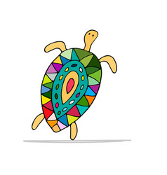 Funny dancing turtle sketch for your design vector
