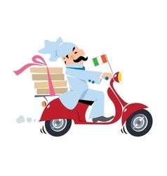 Funny pizza chef on scooter Pizza delivery vector