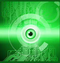 Green background with eye and circuit vector