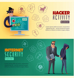Hacker cartoon horizontal banners vector