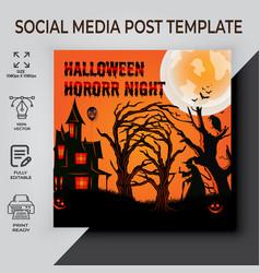 Halloween horror night social media post vector