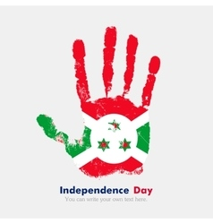 Handprint with the Flag of Burundi in grunge style vector image
