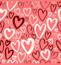 hearts seamless background hand drawn vector image