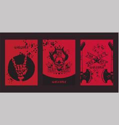 heavy metal pattern rock music design vector image