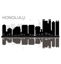 honolulu city skyline black and white silhouette vector image