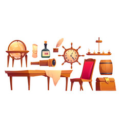 isolated icons pirate ship equipment vector image