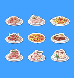 italian cuisine dishes isolated labels vector image
