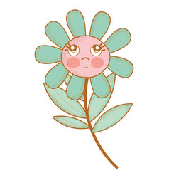 kawaii flower plant thinking with cheeks and eyes vector image