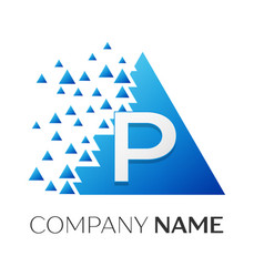 letter p logo symbol on colorful triangle vector image