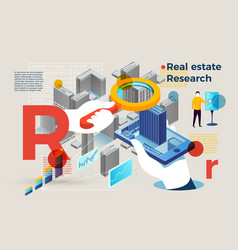 letter r with real estate research people vector image