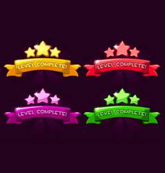 Level complete colored ranking banners with stars vector