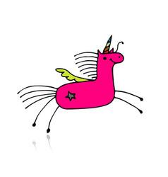 Magic unicorn sketch for your design vector