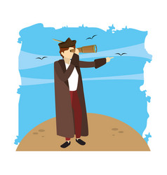 man christopher columbus with monocular in the sea vector image