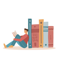Man sit near the pile of big books for read a book vector