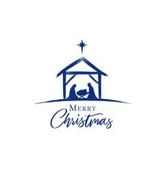 Merry christmas jesus in manger star vector