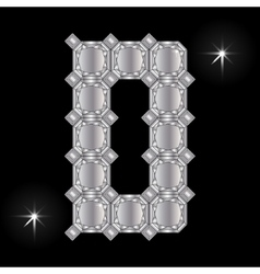 Metal letter D Gemstone Geometric shapes vector image